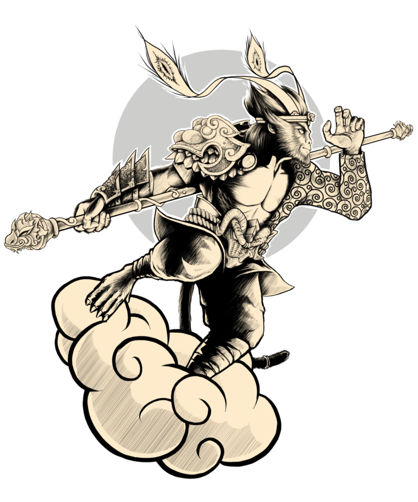 Illustration of Monkey King riding a cloud, from https://www.hiclipart.com/free-transparent-background-png-clipart-vctkj